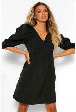 Black Wrap Puff Sleeve Skater Dress