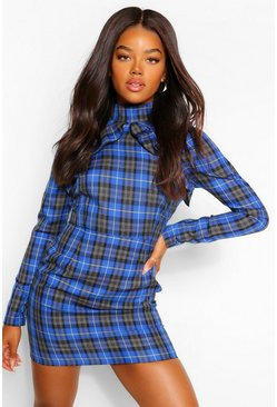 Cobalt blue Check High Neck Ruffle Mini Dress