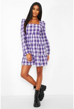 Check Long Sleeve Tiered Smock Dress, Purple viola