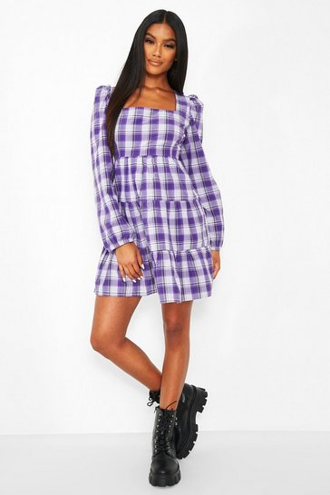 Purple Check Long Sleeve Tiered Smock Dress