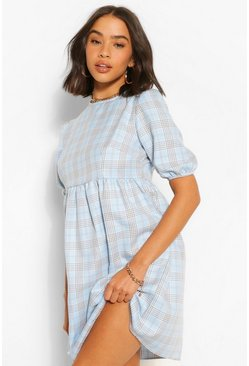 Check Short Sleeve Smock Dress, Blue azzurro