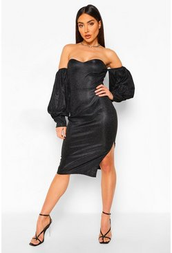 Black Off The Shoulder Shimmer Puff Sleeve Midi Dress
