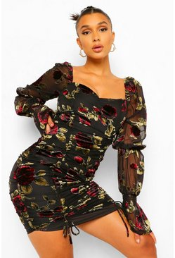 Black Floral Devore Ruched Detail Mini Dress