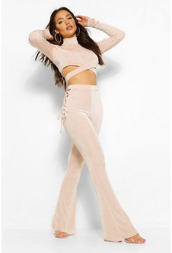 Champagne beige Lace Up Textured Slinky Flared Trousers