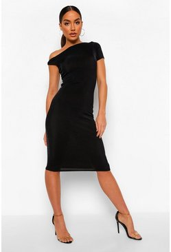Black Off Shoulder Textured Slinky Midi Dress
