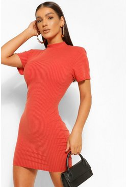 Rust orange Soft Rib Shoulder Pad High Neck Mini Dress