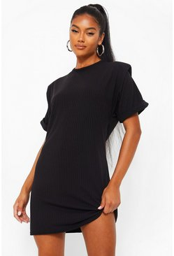 Black Jersey Shoulder Pad T-Shirt Dress