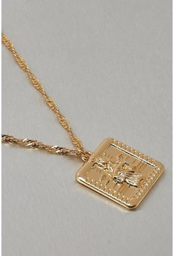 Gold Metal Square Coin Necklace