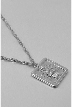 Silver Recycled Metal Square Coin Necklace