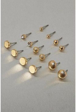 Gold metallic Metal Stud Earring Multi Pack