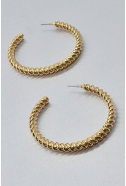 Gold metallic Metal 6cm Twisted Hoop Earrings