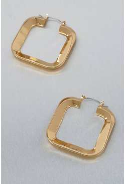 Gold metallic Metal Mini Square Hoop Earrings