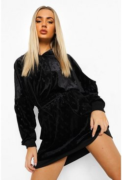 Black B Embossed Velour Hooded Sweater Dress