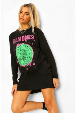 Black Ramones Licenced Long Sleeve T-Shirt Dress