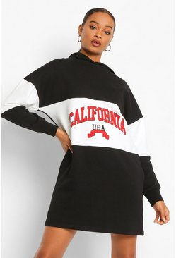 Black California Colour Block Hooded Sweat Dress