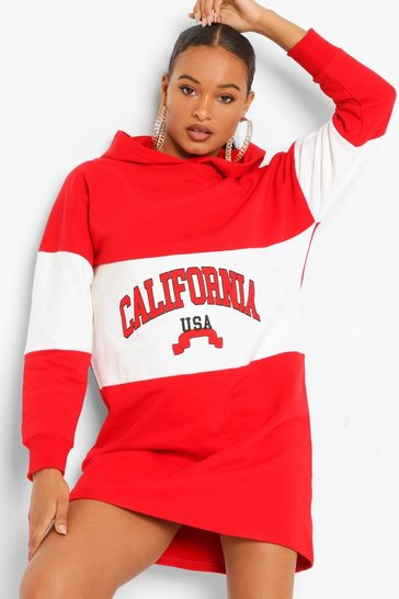 Red California Colour Block Hooded Sweat Dress