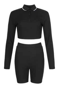 Black Knitted Polo Neck Long Sleeve Cycling Short Co-Ord