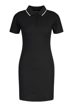 Black Knitted Short Sleeve Polo Neck Bodycon Dress