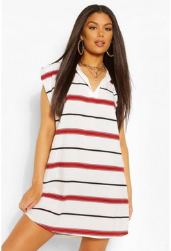 Burgundy red Rugby Collar Shoulder Pad Stripe Dress