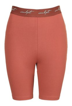 Rust Sculpt Elastic Tape High Waisted Cycle Shorts