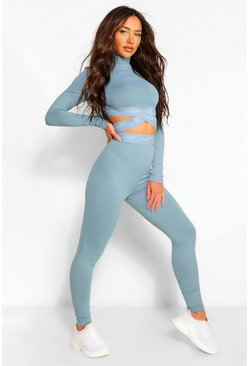 Dusty blue blue Sculpt Elastic Tape High Waisted Leggings
