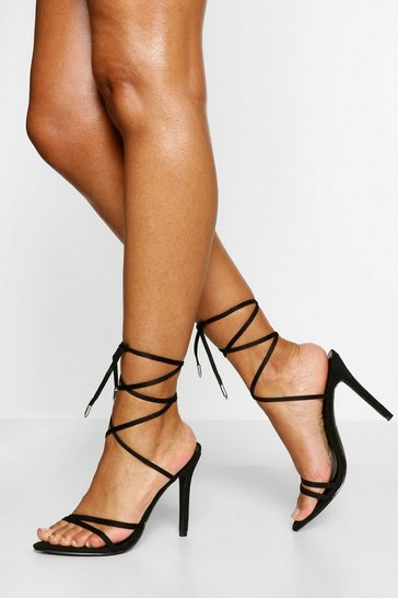 Black Wrap Up Strappy Heels