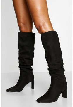 Black Flat Heel Slouched Knee High Boots