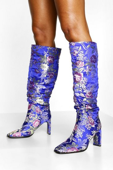 Blue Jacquard Flat Heel Slouched Knee High Boots