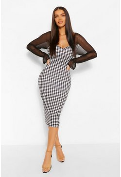 Black Mesh Sleeve Dogtooth Midi Dress