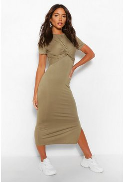 Khaki Wrap Detail Jersey Midaxi Dress