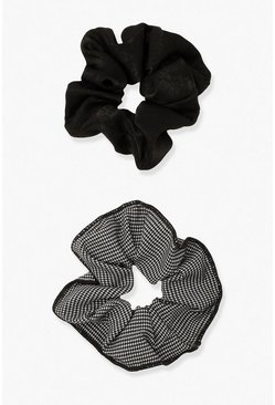 Black 2 Pack Houndstooth Scrunchies