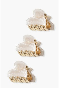 Lot de 3 pinces à cheveux style quartz, Blanc