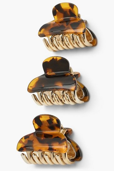 Brown 3 Pack Tort Claw Hair Clip