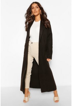 Black Maxi Length Wool Look Coat