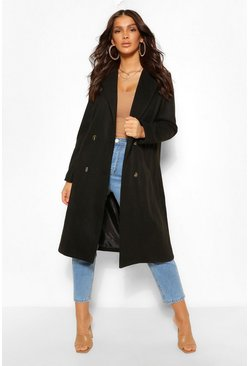 Black Double Breasted Boyfriend Wool Look Coat