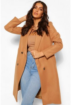 Camel beige Double Breasted Boyfriend Wool Look Coat