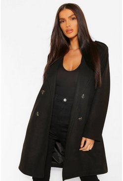 Black Belted Wool Look Coat