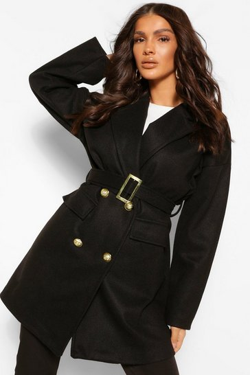 Black Military Detail Belted Wool Look Coat