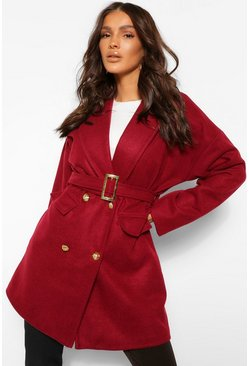 Burgundy red Military Detail Belted Wool Look Coat