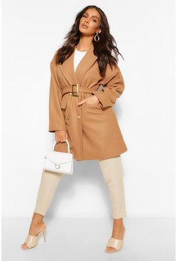 Camel beige Military Detail Belted Wool Look Coat