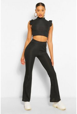 Black Frill Shoulder Top and Flare Trouser Co-ord