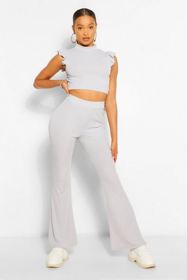 Silver grey grey Frill Shoulder Top and Flare Trouser Co-ord