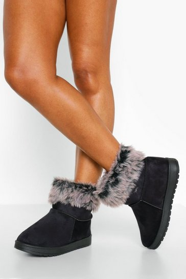 Black Cosy Ankle Boots