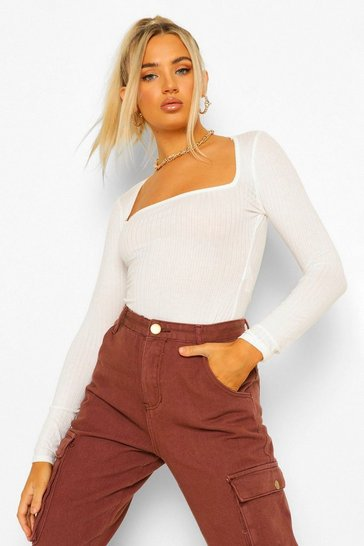 Ecru white Square Neck Rib Knitted Bodysuit