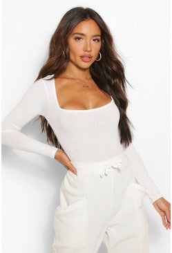 White Square Neck Knitted Rib Bodysuit