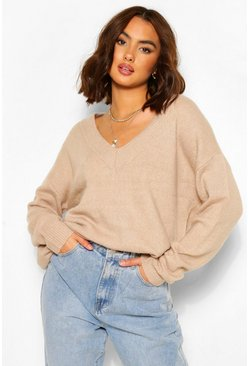 Pebble beige V Neck Oversized Jumper