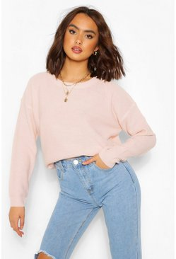 Pull coupe carrée, Rose pastel rose