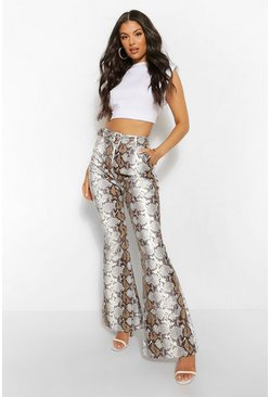 Stone beige Leather Look Snake Print Flared Trousers