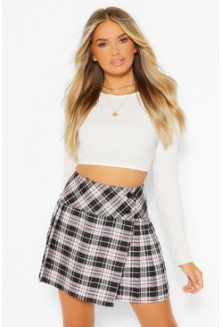 Pink Tartan Check Pleated Tennis Skirt