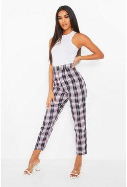 Pink Tartan Check Cigarette Trousers